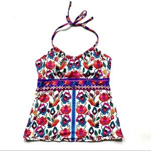 Tropical Floral Embroidery Swim Halter Top